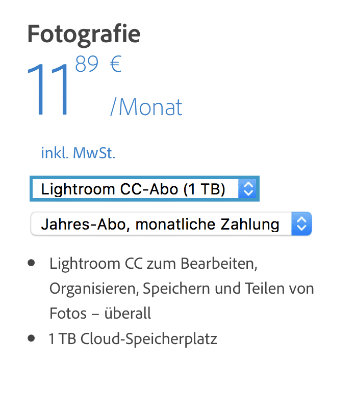 Lightroom CC-Abo 1TB